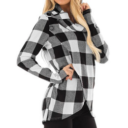 Wholesale hooded plaid shirt women online – New Womens Hoodies Sudadera Mujer Autumn Plaid Cowl Neck Wrap Style Sweatshirt Pollover Blouse Top Fashion Shirt Hooded Hot Sale