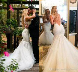 $enCountryForm.capitalKeyWord Australia - Formal Wedding Dresses With Lace Appliques Backless V Neck Count Train Mermaid Wedding Gowns Tulle Custom Made Beach Bridal Dress 52