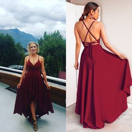 $enCountryForm.capitalKeyWord NZ - Sexy Simple Prom Dresses Burgundy High Low 2019 Spaghetti Backless Sleeveless Bohemian Beach Cocktail Party Dresses Deep Homecoming Dress