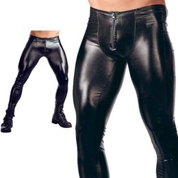 Zipper Erotic Australia - ZOGAA New Hot Sexy Males Fornt Zipper Patent Leather Tights Nightclub Bar Performance DS Stage Pants Erotic Trousers for Men