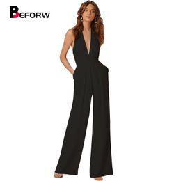 60cb7be001a5 Novità Estate Tute per le donne 2018 Moda nero profondo scollo a V Elegante  pantaloni larghi bianco gamba tuta Clubwear
