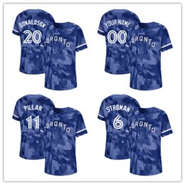 5903d0674 Custom 2019 2020 NK Toronto 6 Marcus Stroman 11 Kevin Pillar Blue Jays 27  Vladimir Guerrero Jr. 12 Alomar 41 Aaron Sanchez Baseball Jerseys