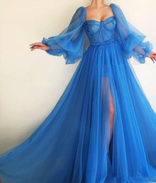 Sweetheart Long Sleeves Tulle Prom Dresses Sexy Split Long Formal Sexy 2020 Special Occasion Party Gowns Pleated Evening Party Gowns Long on Sale