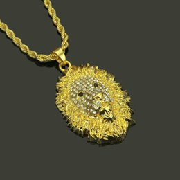 $enCountryForm.capitalKeyWord Australia - New hip hop lion head necklace European and American fashion diamond studded alloy necklace
