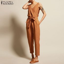Women Jumpsuit 5xl Australia - Rompers Women Jumpsuits Zanzea 2019 Summer Elegant Solid Sleeveless V-neck Jumpsuit Side Pockets Combinaison Femme Long Mono 5xl Y19060501