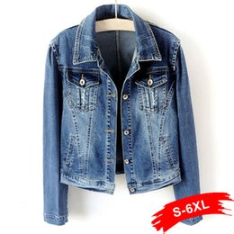 $enCountryForm.capitalKeyWord Australia - Plus Size White Blue Bomber Short Denim Jackets 4XL 5XL Streetwear Stretch Jeans Jacket Casual Jaqueta Jeans Coat Female Tops
