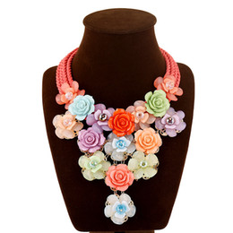weaving cotton rope UK - Acrylic flowers cotton rope woven short deserve to act the role of women necklace collarbone chain accessories wholesale