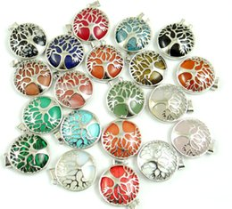 $enCountryForm.capitalKeyWord Australia - Natural Stone lapis Quartz Opal Pendant Handmade Silver Color Tree of Life Round Shaped etc Reiki Jewelry Making necklace 10PC