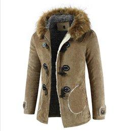 5f1ee42d6ac66 Chaqueta de abrigo con diseño de invierno para hombres Cuello de piel con  capucha Plus Velvet Warm Chaqueta con cierre de cremallera y cuerno largo