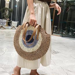 Handbags for body sHape online shopping - 2019 Round Straw Bags for Women GIrls Summer Rattan Bag Handmade Woven Beach Cross Body Bag Circle Bohemia Handbag