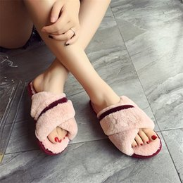 $enCountryForm.capitalKeyWord Australia - Cootelili Women Plush House Slippers With Soft Fur Fashion Winter Warm Shoes Woman Slip On Flats Female Slides Black Pink 41