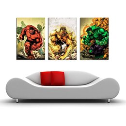 Red Hulk Figures Australia - Angry Red Hulk ,3 Pieces Home Decor HD Printed Modern Art Painting on Canvas  Unframed Framed