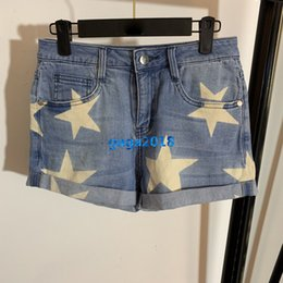 $enCountryForm.capitalKeyWord NZ - high end women girls denim shorts stars motif wide leg loose casual sexy jeans mini trousers top quality paris fashion design luxury pants