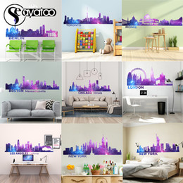 city wall stickers NZ - City Silhouette Cityscape Vinyl Wall Sticker Decal Landscape Skyline Home Decor Stickers