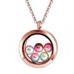 Gold Pendants Charm Wholesale Australia - 10Pcs Lots Floating Charms Pearl Stone Storage Silver Rose Gold Round Clear Glass Locket Pendant Necklace 5pcs Beads Included