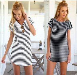 Ingrosso O-Collo donna manica corta a righe allentate Mini vestito estivo più donne di formato Beach Summer Dress abbigliamento donna