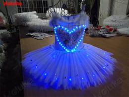 Vestito da balletto fluorescente LED vestito fluorescente luminescente gonna blu vestito da danza tea performance costume CD15 T02