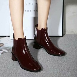 $enCountryForm.capitalKeyWord Australia - Factory price new fashion patent leather mirror square head boots black wine red international luxury with high-top women's boots 35-39