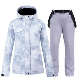 Wholesale White New Fashion Women's Winter outdoor wear Snowboarding suit sets Waterproof Windproof Winter Costumes Skiing Jackets + Bibs Snow pants