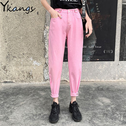 summer wide leg jeans NZ - Black Pink White Boyfriend Jeans For Women 2020 Spring Casual Loose Female Vintage Wide Leg Pant Mom Plus Size Chic Jeans Summer