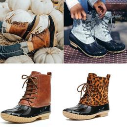 Women Duck Boots Ankle Strap Glitzy Rain Waterproof Snow Winter Boots Shoes