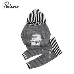 $enCountryForm.capitalKeyWord Australia - Pudcoco Cotton Newborn Kid Baby Boy Dinosaur Print Clothes Set Long Sleeve Striped Hoodies Tops Coat Long Pants Outfits
