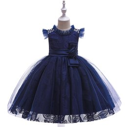 Images Formal Dresses For Girls UK - New Style Ruffled O Neck Sleeveless Lace Applique Kids Girls Pageant Dresses with Pearls Kid's Formal Wear First Communion Dress For Little