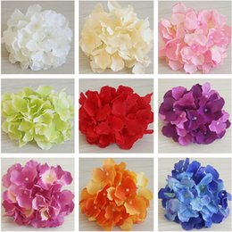 ground flower Australia - Silk Hydrangea Heads Artificial Floar Decoration Fake Flower Heads in Bulk Wedding Flower Road Cited Ground Wall Table Centerpieces Deco