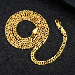 $enCountryForm.capitalKeyWord Australia - 50 pcs, Men's Overbearing Necklace 4mm wide 18K gold-plated Necklace Alloy Material Twinkle Don't fade Hip hop Necklace,18 20 22 24 inch
