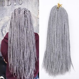 ombre braiding hair 16 inches UK - Crochet Senegalese Twist Braids Pure  Ombre Grey Brown Braiding Hair Extensions African American Woman Synthetic Braided Hair 30roots  Pack