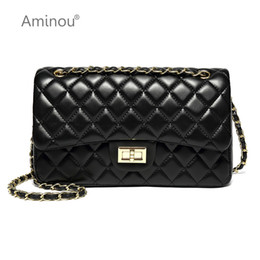 plain black silver crossbody NZ - Luxury Classical Black Chains Women Bag Brand Fashion Pu Leather Handbag Diamond Lattice Lady Shoulder Crossbody Bag