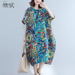 Discount ladies cotton gowns - Summer Dresses Designer Dress Size Dresse For Women 5Xl 6Xl 7Xl Linen Cotton Summer Dress 2019 Korean Elegant Long Casua