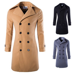 mens double breasted long trench coat NZ - Mens Long Coat Slim Fit Double Breasted Trench Coat Woolen Blend Business Casual