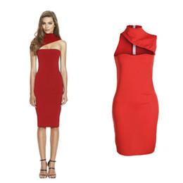Red Sleeveless Turtleneck Dress UK - Women Sexy Dress Bodycon Sleeveless  Turtleneck Party Evening Club Short d4f2de4e7