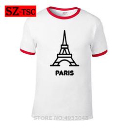 Discount top eiffel tower - Fashion Summer Men Paris Shirt City Souvenir Eiffel Tower France T Shirt Cotton short sleeve Tees Tops Male loose T-shir