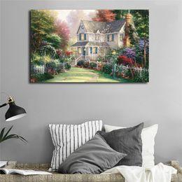 Thomas Kinkade Paintings Framed Australia - Thomas Kinkade Victorian Garden Poster Canvas Painting Oil Framed Wall Art Print Pictures For Living Room Modern Home Decoracion Framework