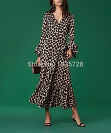 Wholesale Silk V Neck Wrap Style Knit Leopard Midi Dress With Long Flare Sleeves Features Upper Body Knit Silk Crepe De Chine Hem