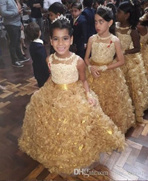 party kids special occasion dresses Canada - 2019 Gold Lace Princess Flower Girls Dresses Tiered Sleeveless Little Kids For Wedding Special Occasions Dress Evening Pageant Party Gowns