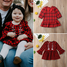 Toddler girls plaid dress online shopping - Christmas Dress For Girls Cute Toddler Kids Baby Girl Long Sleeve Xmas Plaid Dress Casual Clothes Children New Year s Dresses