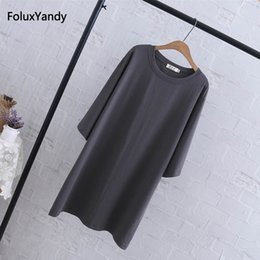 $enCountryForm.capitalKeyWord Australia - Three Quarter Sleeve Tops Tees Women Plus Size 3 4 5 Xl Casual Loose Long T-shirts Black Red Gray Qyl219 Y19072001