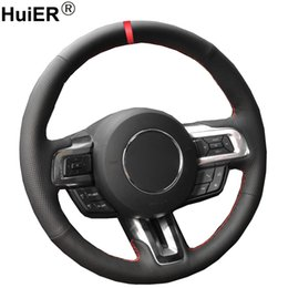 car hand wheel Canada - Hand Sewing Car Steering Wheel Cover Volant Funda Volante For Mustang 2015 2016 2017 2018-2020 Mustang GT GT350R 2015-2020