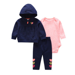 baby girl new born costumes Australia - clothing set for baby girl hooded jackets+romper+pants newborn clothes outfit suit tracksuit 2019 unisex new born costume cottonMX190912