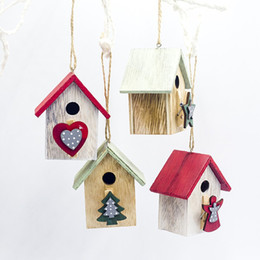 cabin paintings Australia - Wooden Painted Christmas Little House Creative Xmas Home Desktop Ornaments Cabin Light Christmas Tree Pendant