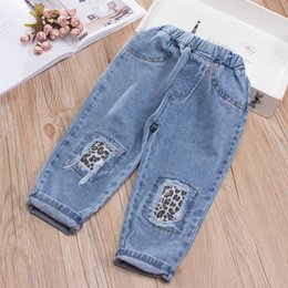 Baby Clothes Ripped Jeans Australia - Kids Ripped Jeans Cowboy Baby Boy Cropped Trousers Wholesale Kids Summer Clothing Toddler Girl Leopard Patchwork Denim Pants