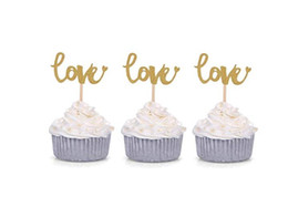 $enCountryForm.capitalKeyWord UK - 50pcs Silver Glitter Love Cupcake Toppers Wedding Bridal Shower Engagement Party Decors