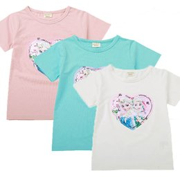 Wholesale Baby Girls Designer Clothes Girls Embroidered Snow Princess Stripe Short Sleeve Top Cotton Sequin Discoloration Change Face Tees