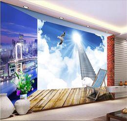 SunShine houSe online shopping - custom size d photo wallpaper mural living room stepped sunshine scenery d picture sofa TV backdrop wallpaper mural non woven wall sticker