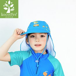 waterproof sun hats Australia - 2018 Summer Cartoon Baby Kids Swimming Cap Neck Protection Beach Sun Hats Waterproof for Boys Girls Children Outdoor