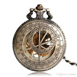Antique Pendants For Sale UK - Half Hunter Luxury Bronze Constellation Compass Design Mechanical Pocket Watch Hot Sale Retro Pendant Clock Best Birthday for Men Women