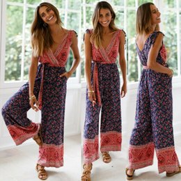Jumpsuits Australia - Summer Women's Clubwear Party Jumpsuit & Romper Long Trousers Ladies V-neck Sleeveless Wide Leg Jumpsuits Female Clothing